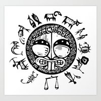 zodiac Art Prints featuring Zodiac by Xochicalco