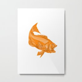 Largemouth Bass Diving Drawing Metal Print