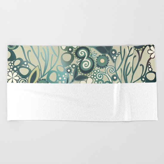 Detailed square of green and ocre floral tangle Beach Towel
