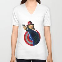peggy carter V-neck T-shirts featuring Peggy Carter by Farah Jayden