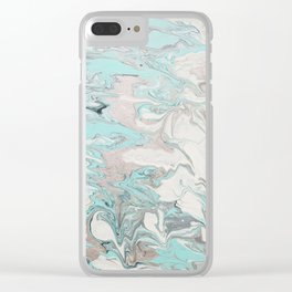 Marble - Mint Clear iPhone Case