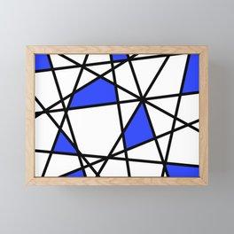 Geometric Modern triangles - white blue Framed Mini Art Print