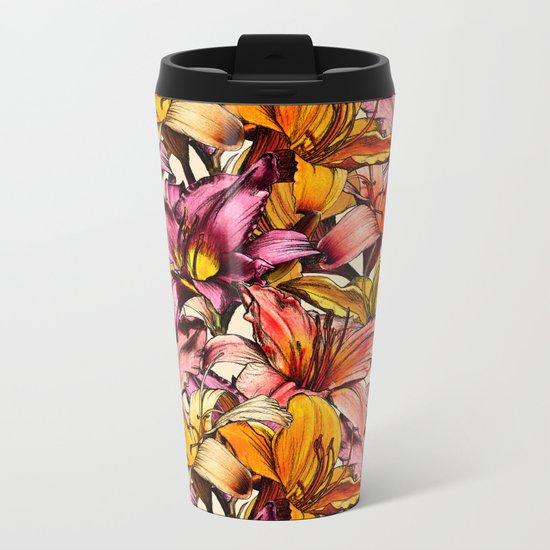 Daylily Drama - a floral illustration pattern Metal Travel Mug