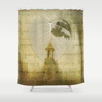 asia Shower Curtains featuring Asia Rain by Eva Nev