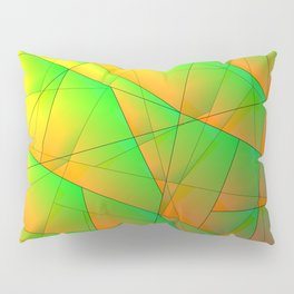 Abstract pattern of green and overlapping yellow triangles and irregularly shaped lines. Pillow Sham