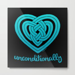 UNCONDITIONALLY in teal on black Metal Print