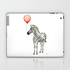 Baby Zebra Whimsical Animal with Red Balloon Nursery Art Laptop & iPad Skin