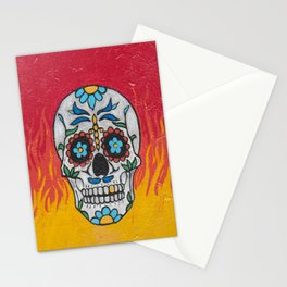 DAY OF THE DEAD - FLAMING RED VOODOO Stationery Cards
