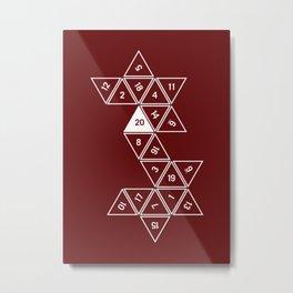 Red Unrolled D20 Metal Print