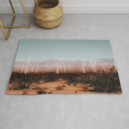Wind turbine in the desert and mountain view at Kern County California USA Rug