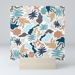 Minimal Shapes Taupe Blues Skintones Fall Leaf Pattern Digital Mini Art Print