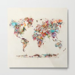 world map watercolor deux Metal Print