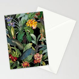 Vintage & Shabby Chic - Midnight Tropical Garden Blue Heron Stationery Cards