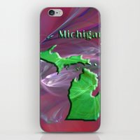 michigan iPhone & iPod Skins featuring Michigan Map by Roger Wedegis