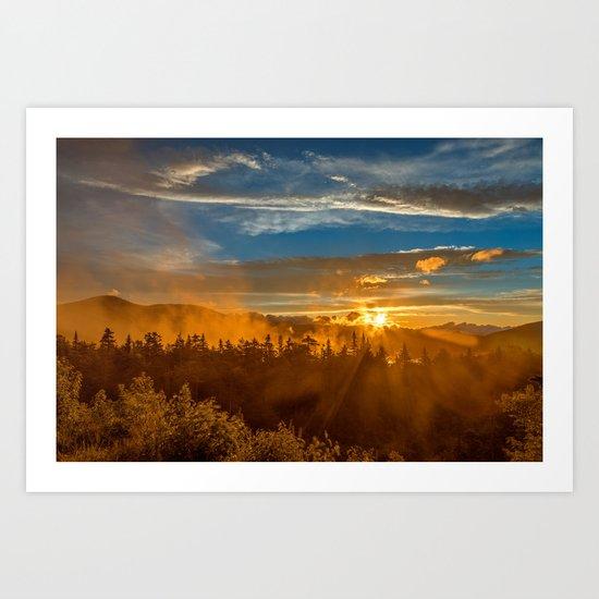 Misty Gold Mountain Sunset Art Print