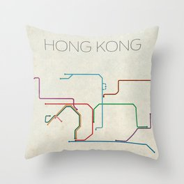 Minimal Hong Kong Subway Map Throw Pillow