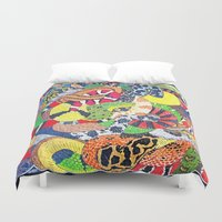 anaconda Duvet Covers featuring Snakes by Chloe Yzoard