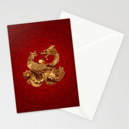 Phoenix and Dragon - on red Stationery Cards