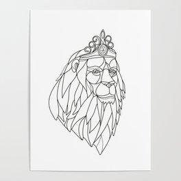 Lion Princess Wearing Tiara Mosaic Black and White Poster