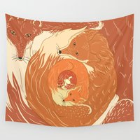 foxes Wall Tapestries featuring Foxes by Beesants