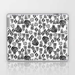 Tropical linocut tribal island pattern scandinavian art print black and white minimal Laptop & iPad Skin
