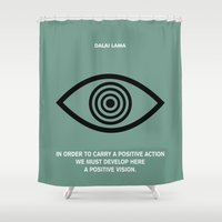 lama Shower Curtains featuring Lab No.4 - A Positive Action & Vision Dalao Lama Inspirational Quotes poster by Lab No. 4