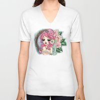 shabby chic V-neck T-shirts featuring Shabby Chic Girl by Sollamy