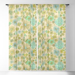retro wall paper daydreams // art by surfy birdy Sheer Curtain