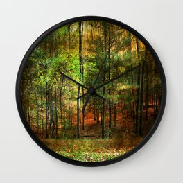 Autumn Sunset - In The Woods Wall Clock