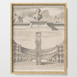 Vintage Roman Colosseum Illustrative Diagram Serving Tray