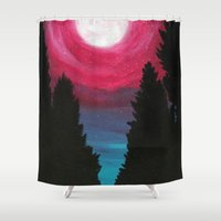 the moon Shower Curtains featuring Moon by Tesseract
