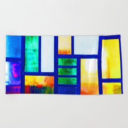 Art Deco Colorful Stained Glass Beach Towel