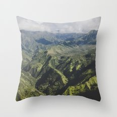 Mountain Ridges - Kauai, Hawaii Throw Pillow