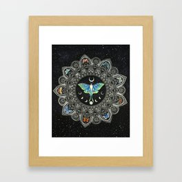 Lunar Moth Mandala with Background Framed Art Print