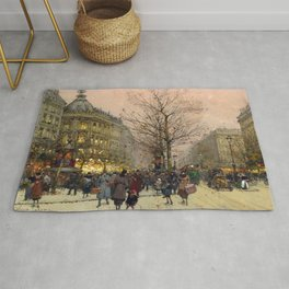 Les Grands Boulevards, Paris by Eugene Galien Laloue Rug