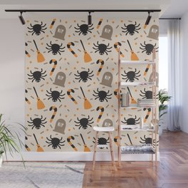 Happy halloween brooms, graves, spiders and sweets pattern Wall Mural