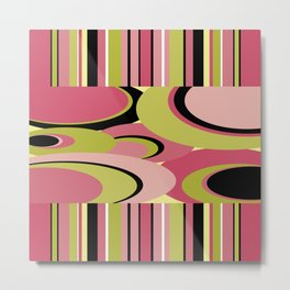Contemporary Circles and Stripes Pattern in Hot Pink Neon Green and Black Metal Print