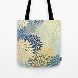 Floral Print, Yellow, Gray, Blue, Teal Tote Bag