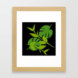 Simply Tropical Leaves with Black Background Framed Art Print