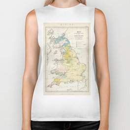 Vintage Map of the Coal Fields of Great Britain Biker Tank