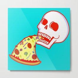 Pizza Skull - Aqua Metal Print