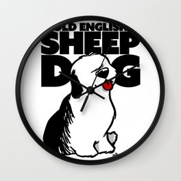 Old english sheep dog Wall Clock