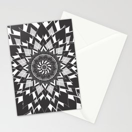 GREY, BLACK AND WHITE FLOWER OF LIFE Stationery Cards