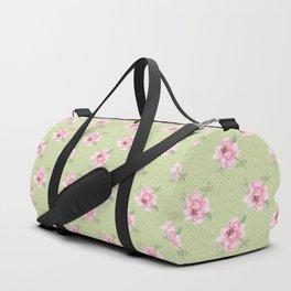 Pink peonies on blackground green Duffle Bag
