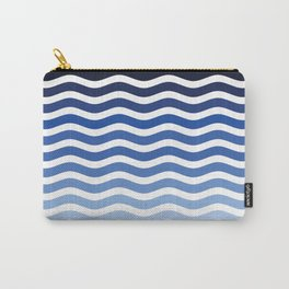 Ocean waves navy blue striped pattern, minimalist summer waves Carry-All Pouch