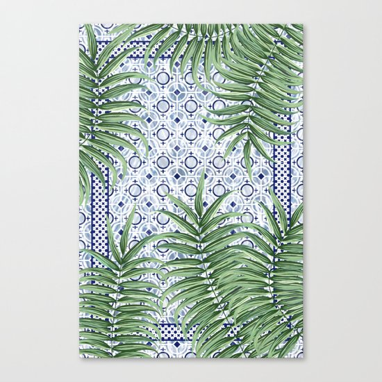 Moroccan tiles and palm leaves Canvas Print