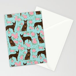 Kelpie florals dog breed cute gifts pattern dog lover pet portraits pet friendly designs Stationery Cards