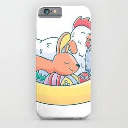 Ostern mit Henne und Kaninchen iPhone Case