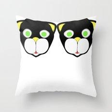 Double Cat Head Throw Pillow