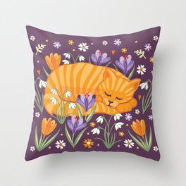 Sleepy Cat in a Spring Garden Throw Pillow